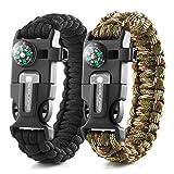 X-Plore Gear Emergency Paracord Bracelets   Set of 2  The Ultimate Tactical Survival Gear  Flint Fire Starter, Whistle, Compass & Scraper   Best Wilderness Survival-Kit - Camo(R)/Black(R)