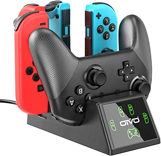 Switch Controller Charger Dock Station for Nintendo Switch Joycon&Pro Controller, OIVO Upgraded 5-in-1 Switch Remote Controller Charger for Nintendo Switch - 2.8FT Type C Cable Included