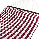 Best Choice Products Plush Quilted Double Hammock w/ Spreader Bars - Red/White