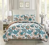 Fancy Collection 2pc Twin/Twin Extra Long Oversize Quilted Coverlet Bedspread Set Floral White Brown Teal Reversible New