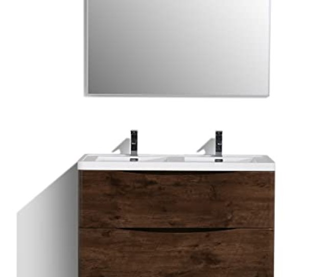 Eviva Evvnrswd Fs Smile 48 Rosewood Modern Bathroom Vanity Set With Integrated White Acrylic Double Sink Combination Amazon Com