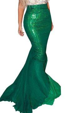Women Halloween Costume Cosplay Mermaid Fancy Dress Skirt (US 2, Green 2)