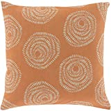 Surya LJS003-1818D Down Fill Pillow, 18-Inch by 18-Inch, Burnt Orange/Light Gray