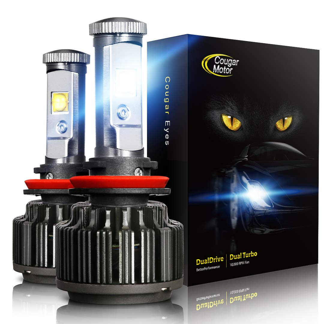 Best HID Headlight Kits Cougar Motor LED Headlight Bulbs All-in-One Conversion Kit - H11 (H8, H9) -7,200Lm 6000K Cool White CREE