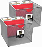 Neat Life Mesh Office File Organizer Storage Box with Side Hanging Rails - Silver (2 Pack)