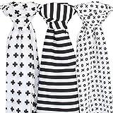 Muslin Baby Swaddle Blankets, 47x47 (3 Pack) Black, White, XO, Stripe, Cross
