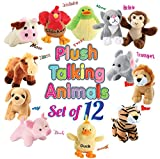 12 Plush Talking Animal Sound Toys by Animal House | Baby Gift & Party Favors