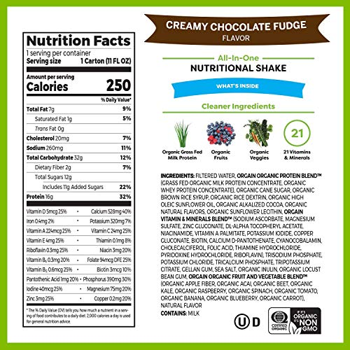 Orgain Organic Nutritional Shake, Creamy Chocolate Fudge - Meal Replacement, 16g Protein, 21 Vitamins & Minerals, Gluten Free, Soy Free, Kosher, Non-GMO, 11 Ounce, 12 Count (Packaging May Vary) 2