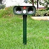 Muhoop Ultrasonic Dog Repellent Outdoor Animal Repeller Solar Powered Waterproof Farm Garden Yard Rodent Bird Cat Repellent Pest Repellent PIR Sensor