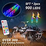 Beatto 5FT(1.5M) RF Remote Control 360° Sprial LED Whips Light With Dacning/Chasing Light LED Antenna Light For Off- Road Vehicle ATV UTV RZR Jeep Trucks Dunes.(2 PCS)