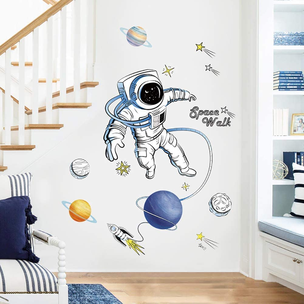 Girls For Bedroom Living Room Bathroom Office Bright Astronaut Wall Decor For Ceiling For Kids Carkaii Outer Space Castle Wall Decals Boys Room Decorations Wall Stickers Murals Toys Games