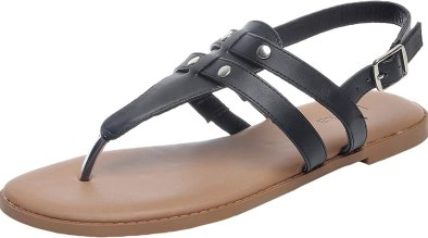 Luoika Women's Wide Width Flat Sandals - Flexible Buckle Thong Rivet Comfortable Summer Shoes.