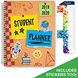 Dated Elementary Student Planner for Academic Year 2019-2020 (Matrix Style - 8.5'x11' - Cork Board Cover) - Bonus Ruler/Bookmark and Planning Stickers