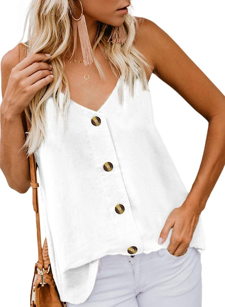 BLENCOT Women's Summer Button Down V Neck Strappy Tank Tops Loose ...