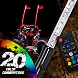 6ft LED Whip Lights w/Flag [21 Modes] [20 Colors] [Wireless Remote] [Weatherproof] Lighted Antenna Whips - Accessories for ATV Polaris RZR 4 Wheeler