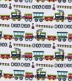 Flannel Choo Choo Train Fabric