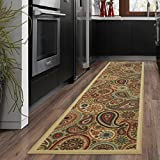 Ottomanson Ottohome Collection Beige Contemporary Paisley Design Modern Skid (Non-Slip) Rubber Backing (20'X59') Kitchen and Bathroom Runner Area Rug, 20' x 59',