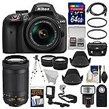 Nikon D3400 Digital SLR Camera & 18-55mm VR & 70-300mm DX AF-P Lenses with 64GB Card + Case + Flash + LED Video Light + Tripod + Tele/Wide Lens Kit