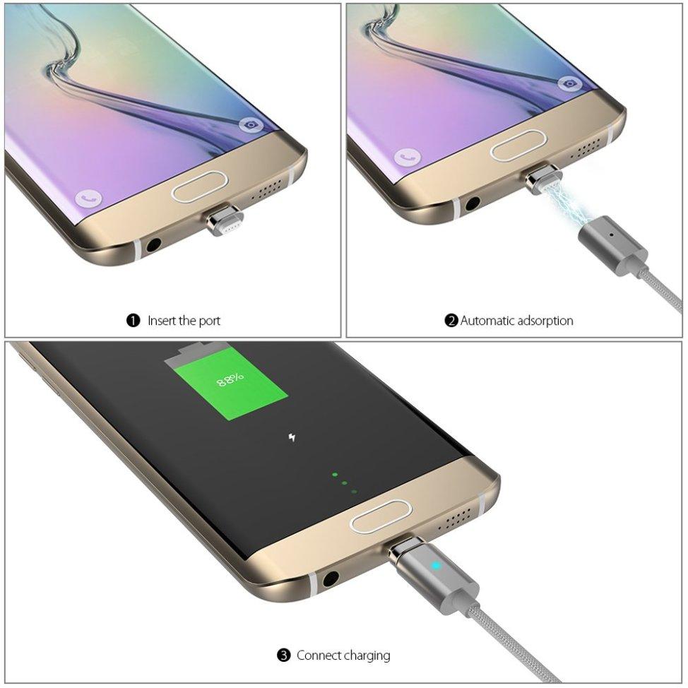 dodocool Micro USB磁力ケーブル Micro USB充電ケーブル データの同期が可能  (一つのMicro USBコネクタ付き ) LEDライト シルバー 3.9ft / 1.2m