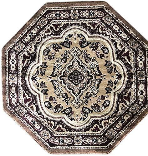 Traditional-Oriental-Persian-Octagon-Area-Rug-Beige-Burgundy-Brown-Ivory-Design-520-7-Feet-9-Inch-X-7-Feet-9-Inch
