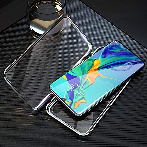 Trifty Slim Mgnetic Flip with Metal Frame & Back Side Transparent Tempered Glass Back, Built-in Powerful Mgnet Flip Back Cover Case for Redmi Note 8 (Silver) 3