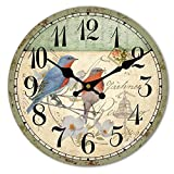 HUABEI Wood Wall Clock Vintage Birds with Flower French Country Romantic Shabby Chic 12' Large Decorative Roman Numerals Analog Battery Operated Silent for Home Decoration