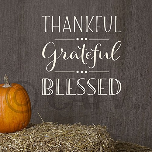Thankful grateful blessed vinyl lettering wall decal (10