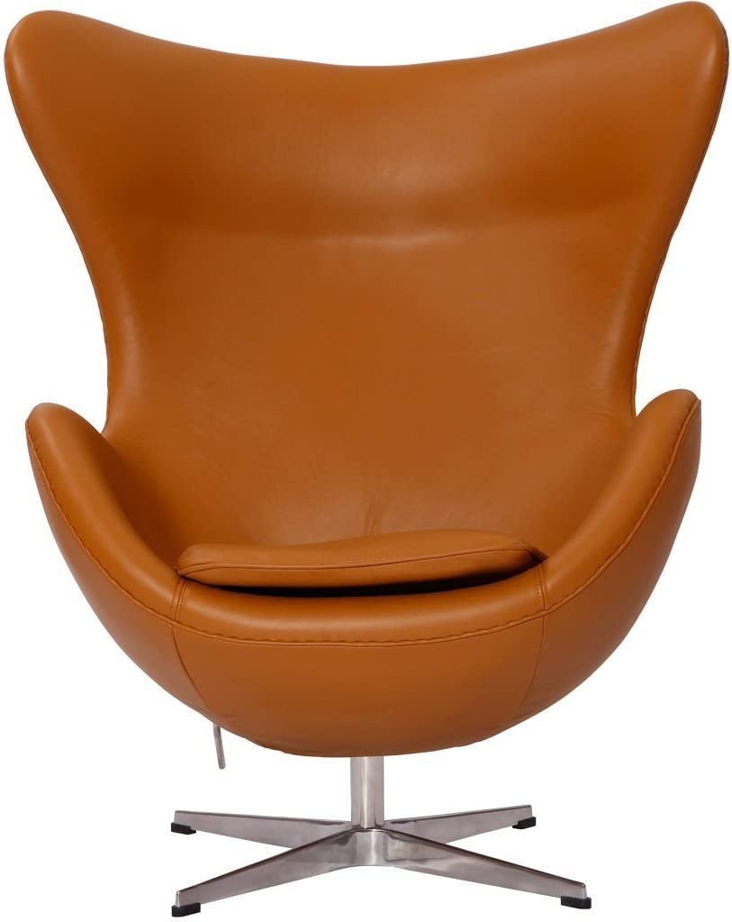 Amazon Com Designer Modern Arne Jacobsen Egg Chair Leather In Terra Cotta Home Kitchen