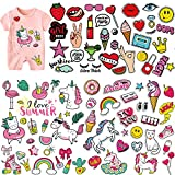 (5 Sheets) Kids Iron On Patches, Akwox Unicorn Holiday Styles Love Kiss Heat Transfer Stickers with Colorful Pattern Appliques Design Decoration Washable for Clothing,T-Shirt,Jeans,Bags