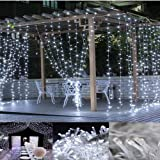 Neretva Window Curtain Icicle Lights, 300 LEDs Twinkle String Fairy Lights, 9.8x9.8ft, 8 Modes Linkable,LED String Lights for Christmas Party Wedding Patio Lawn Garden Decorative Lights (White)