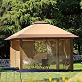 Suntime 12' x 12' Outdoor Pop Up Gazebo Canopy with Mosquito Netting and Solar LED for Parties and Outdoor Activities