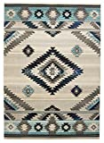 Rugs 4 Less Collection Southwest Native American Indian Area Rug Design R4L 1033 Bone Gray Turquoise Blue (5'X7')