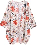 OLRAIN Women's Floral Print Sheer Chiffon Loose Kimono Cardigan Capes (Small, Red-1)