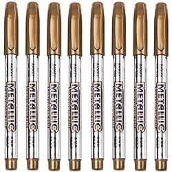 Metallic Marker Pens, Gold Metallic Permanent Markers for DIY Scrapbooking, Crafts, Artist Illustration, Value Set of 8