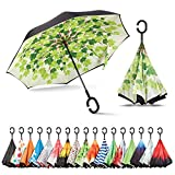 Sharpty Inverted Umbrella, Umbrella Windproof, Reverse Umbrella, Umbrellas for Women with UV Protection, Upside Down Umbrella with C-Shaped Handle (Green Shade)