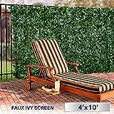 Windscreen4less Artificial Faux Ivy Leaf Decorative Fence Screen 4' x 10' Ivy Leaf Decorative Fence Screen