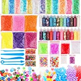 Slime Supplies Kit Slime Beads Charm DIY Slime Making Kit Include Slime Foam Beads Confetti Star and Heart Sprinkles Fruits Slices Accessories(58 Pack)