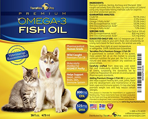 Premium liquid omega 3 fish oil for dogs and cats all for Can you give your dog human fish oil capsules