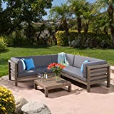 Christopher Knight Home 299120 Outdoor Patio Furniture 4 Piece Wooden Sectional Sofa Set w/Water Resistant Cushions (Grey) Ravello