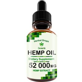 Hemp Oil Extract 52000 mg, All-Natural Drops for Pain, Stress, Anxiety Relief, Deep Restful Sleep
