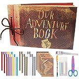 Ablus DIY Photo Album Scrapbook Our Adventure Book for Various Size Photos Wedding Anniversary Couples Family Friends Graduation Travel Memory