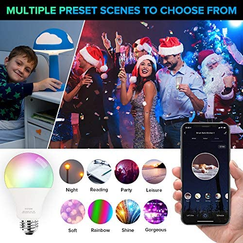 Smart Light Bulbs, 3Stone A21 10W Smart LED Light Bulb, 2700K-6500K RGBCW (100W Equivalent) E26 WiFi App Voice Controlled 2.4G(Not 5G) Multicolor Bulb, Works Perfect with Alexa, Google Assistant 17