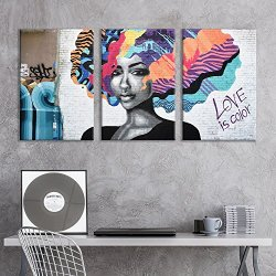 wall26 – 3 Panel Canvas Wall Art – Triptych Street Graffiti Series – Love is Color – Giclee Print Gallery Wrap Modern Home Decor Ready to Hang – 16″x24″ x 3 Panels