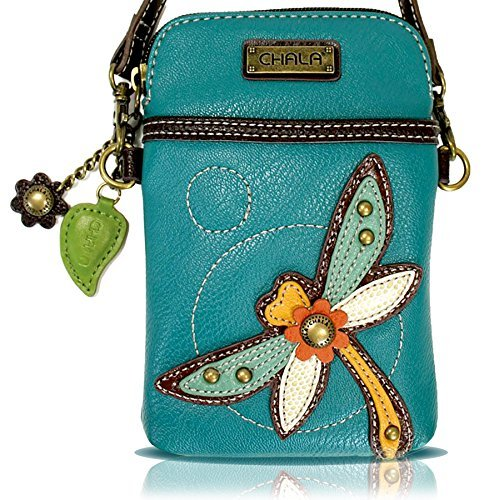 Chala Crossbody Cell Phone Purse - Women PU Leather Multicolor Handbag with Adjustable Strap - Dragonfly - Turquoise