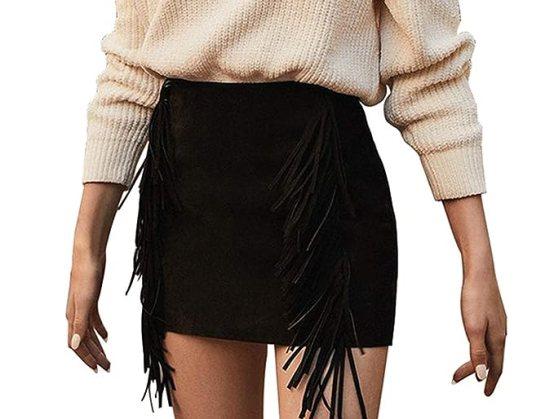 Primavera Autunno Gonne a Tubino Donna Mini Gonna con Frange Moda Linea ad A Skirt da Partito Festa Cocktail