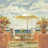 100% Hand Painted Modern Oil Painting, Umbrella Patio Landscape Oil Painting