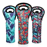 LAGUTE Wine Bottle Carriers Tote Tropical Beach Pattern, Neoprene Champagne Bottles Protective Travel Bag -Set of 3