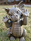 "Ebros Whimsical Garden Dragon Making Funny Faces Statue 10.25"" H Cute Baby Dragon Faux Stone Resin Finish Figurine Dungeons and Dragons Mythical Fantasy Sculpture Guest Greeter Home Decor"