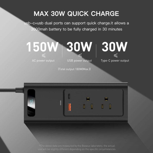 Amazon.com: Baseus Power Inverter Car Inverter 150W DC 12V/110V Car Outlet Adapter car USB C LCD Screen with Switch and Current Outlet Adapter Power Inverters for Car (Gray): Car Electronics
