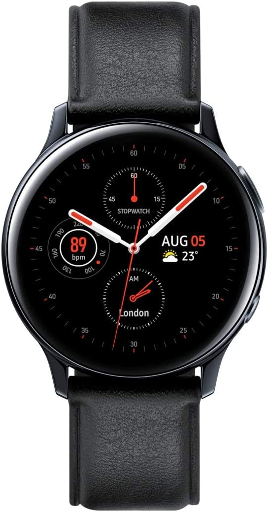 SAMSUNG Original Galaxy Watch Active2 w/; auto Workout Tracking, Enhanced Sleep Tracking Analysis; Stainless Steel CASE and Leather Band (International Model) (Black, 40mm) No LTE (43191600)